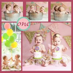 Twin Baby girls with rag tutus and matching banner cake smash session at Willow Baby Photography San Jose