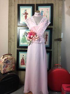 1970s pink dress 70s maxi dress size medium vintage dress prom dress victorian style Bohemian dress by melsvanity on Etsy