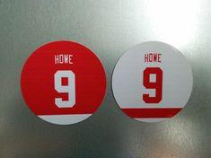 Gordie Howe Jersey Magnets - Detroit Red Wings - inch - Set of 2 Detroit Red Wings, Magnets, Hockey, Gifts, Fan, Favors, Hand Fan, Presents, Gift