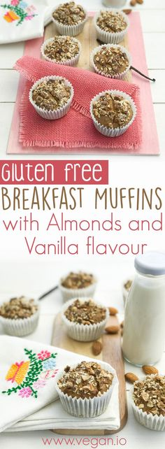 Gluten Free Breakfast Muffins with Almonds and Vanilla flavour | Vegan.io | The easist way to follow a vegan diet