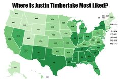 Mapping Justin Timberlake's popularity in the USA:  https://www.facebook.com/Mapline/photos/a.466713526759139.1073741825.106763592754136/706660586097764/?type=1&theater