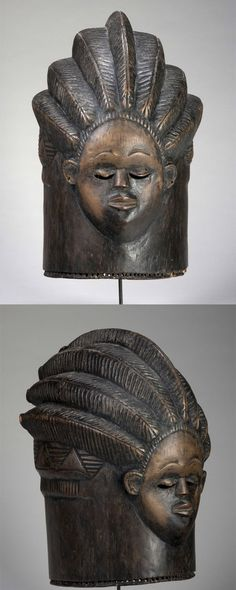 Africa | A 'Sowei' helmet mask from the Bundu or Sande woman's society from the Bassa people of Liberia | Wood