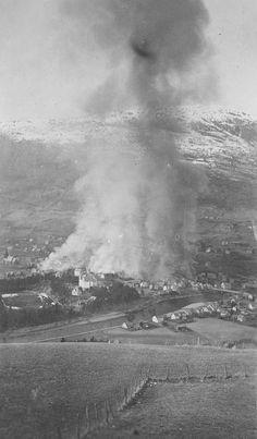 Scene from the German bombing of Voss,Norway