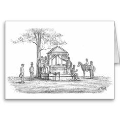 """Shop Paul McGehee """"Meeting at the Well"""" Card created by MCGEHEEWORLD. Meeting Place, Northern Virginia, The Old Days, Envelope, Battle, Buildings, Old Things, Public, Scene"""