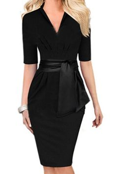 Clean and Simple Lines Sexy Black V-Neck Self-Tie Bodycon Midi Dress Bodycon Outfits, Dress Outfits, Fashion Dresses, Teen Outfits, Winter Outfits, Casual Outfits, Bodycon Dress, Fashion Mode, Work Fashion