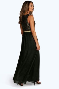 Boutique Lia Lace & Metallic Maxi Dress