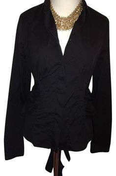 Prada BLACK Sophisticated Long Sleeves Blouse Sz 44 (m) European Button Down Shirt. Get the lowest price in town on this fabulous Prada Sophisticate Blouse Bow button-down shirt in BLACK and other colors too! Tradesy makes designer fashion affordable and fun. Shop now