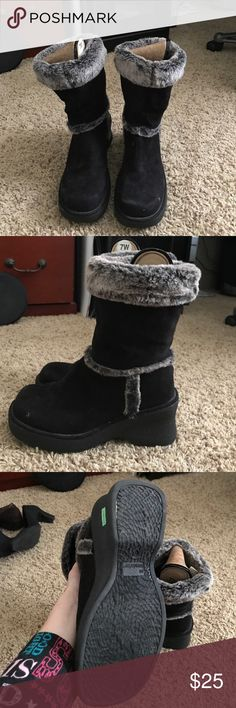 Black and fur suede leather boots. Sz. 7 1/2. Black suede leather boots with gray fur very cute and comfy. Sz 7 1/2. Make me an offer or bundle for a discount. Shoes Heeled Boots