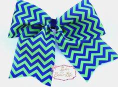 Navy and Lime Small Chevron Cheer Bow by LivinTheBowLife on Etsy