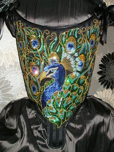 18th Century Corset Handmade Sequin Peacock by staniliev on Etsy, €220.00