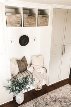 Our DIY Mudroom Built in Ikea Hack - A Brick Home by Marly Dice - - We love this awesome IKEA hack for making DIY mudroom built ins. This DIY mudroom was so budget-friendly and didn't require too much custom building. Ikea Furniture Hacks, Ikea Hacks, Furniture Storage, Ikea Pax Hack, Ikea Wardrobe Hack, Built In Wardrobe, Wardrobe Storage, Mudroom Cabinets, Ikea Cabinets