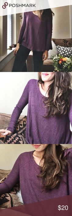 free people | purple thermal tee this lil baby is cozy and casual, and it pairs perfectly with well-worn black denim for an effortless, cold weather weekend look. a great transition piece in excellent condition and worn only a handful of times. Free People Tops Tees - Long Sleeve