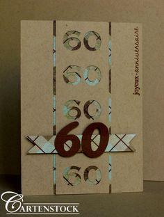 Carte 60 ans Kraft & Ecossais Vert Patrice, Scrap, Age, Birthday, Cards, Vintage Cards, Man Card, Tissue Paper Crafts, Birthdays