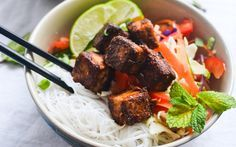 This bowl is sweet, spicy, and complex with both crunchy vegetables and soft vermicelli rice noodles.