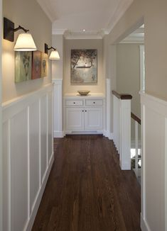 Traditional hall w/wainscoting. Wall color: Benjamin Moore HC-93 Carrington Beige. Wainscoting color: Ben Moore AF-20 Marscarpone