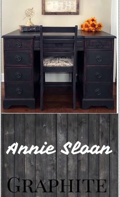 "Vintage desk and chair painted Annie Sloan ""Graphite"" chalk paint with Black Wax, distressed all the edges to let that dark wood come through for a truly Vintage look!"