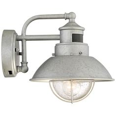 Fallbrook Galvanized Dusk to Dawn Motion Outdoor Light ** Details can be found by clicking on the image. (This is an affiliate link) Outdoor Wall Light Fixtures, Outdoor Wall Sconce, Outdoor Wall Lighting, Beach House Lighting, Backyard Lighting, Outside Lighting Ideas, Dining Lighting, Dusk To Dawn, House With Porch