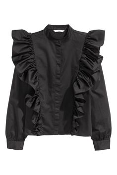 Blouse in a cotton weave with a small stand-up collar, concealed buttons down the front, gently dropped shoulders and slightly wider sleeves with Abaya Fashion, Muslim Fashion, Teen Fashion, Fashion Dresses, Fashion Tips, Fashion Design, Petite Fashion, Curvy Fashion, Fashion Bloggers