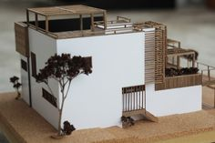 Architecture model for -Les Comptoirs de l'Architecture-Handmade with crock and walnutScale 1/60