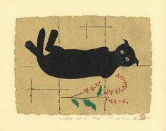 Wake Up  -  Japanese woodblock print by Tadashige Nishida (Born in Kagoshima, 1942)