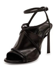 Leather Crisscross Glove Sandal, Black by Lanvin at Bergdorf Goodman.