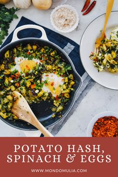 Simple to make Potato hash brunch dish: crispy potatoes spinach and set eggs with perfectly runny yolks. An easy and delicious one-pan vegetarian supper to make any day of the week! Egg Recipes, Dinner Recipes, Cooking Recipes, Healthy Recipes, Spinach Egg, Potato Hash, Brunch Dishes, Crispy Potatoes, Family Meals