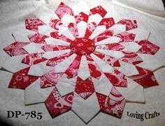 """One Valentine Center Piece Dresden Plate Quilt Blocks 16 1/2"""" - #785"""