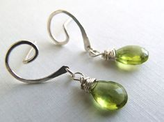 Peridot Briolette Dangle Earrings-I like the ear wires on this pair.