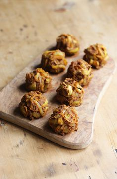 Delicious and spicy oven baked onion bhajis! So easy to make! Vegan + gluten free.