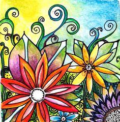 Original 5 x5 watercolor and ink The Garden flowers leaves,garden,floral,landscape,. $30.00, via Etsy.
