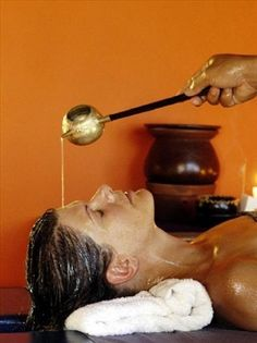 Ayurveda Spa Treatments: Shirodhara. Warm herbal oil dripped over the third eye, Chakra, is most relaxing and relieves tension headaches, and general stress.