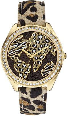 GUESS Women's Animal Pattern Leather Strap Watch 44mm U0504L2