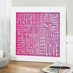 21st Birthday Gift For Her Personalised Square Word Art (watercolour pink colour option). Beautiful Personalised Word Art Gifts to Commemorate a Landmark Birthday. Easy to Create, Preview on Screen Before You Buy & Fast Free Delivery. Create Now…