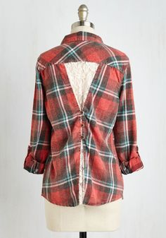 S'more You Know Top. Learn of all the lovable facets offered by this flannel shirt! #red #modcloth