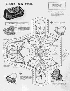 ru / Photo # 7 - shtolman + sketches + for + carving + stamping + Skin - vihrova Leather Carving, Leather Art, Leather Design, Leather Tooling, Leather Purses, Leather Belts, Tooled Leather, Purse Patterns, Sewing Patterns