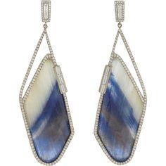 Monique Péan Atelier Diamond & Sapphire Slice Earrings (358 855 ZAR) ❤ liked on Polyvore featuring jewelry, earrings, colorless, post drop earrings, clear earrings, sapphire drop earrings, 18k diamond earrings and baguette diamond earrings