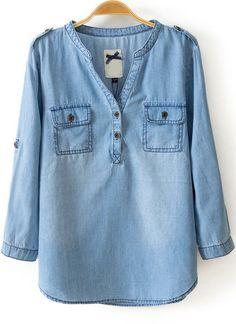 Blue V Neck Long Sleeve Pockets Denim Blouse Hippie Style, Cool Outfits, Casual Outfits, Kurti Neck Designs, Denim Blouse, Stitch Fix Outfits, Blue V, Women's Fashion Dresses, Hijab Fashion