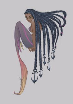 The Art Of Animation, David Ardinaryas Lojaya -. Black Girl Art, Black Women Art, Black Art, Art Girl, Black Mermaid, Mermaid Art, The Little Mermaid, Mermaid Drawings, Mermaid Tattoos