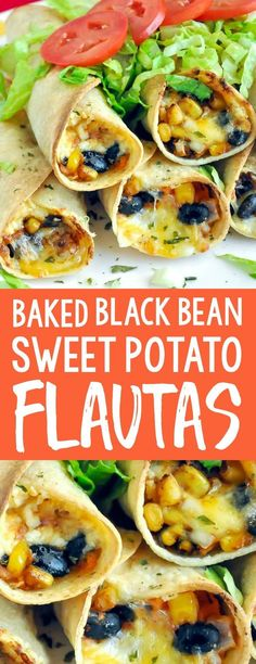 Cheesy Baked Black Bean and Sweet Potato Flautas are one of my most popular recipes ever, and for good reason too! We love them as a tasty addition to taco night for dinner or as an appetizer to share with friends! Mexican Appetizers, Mexican Food Recipes, Whole Food Recipes, Vegetarian Recipes, Dinner Recipes, Cooking Recipes, Healthy Recipes, Vegetarian Cooking, Cooking Cake