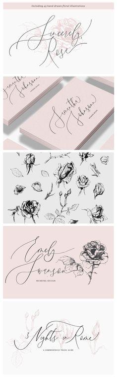 An elegant script font & floral illustrations for beautiful wedding invitations and romantic, feminine logo design.