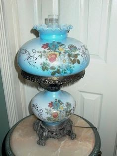 Antique Hand Painted Hurricane Gone With The Wind Parlor Table Lamp | EBay