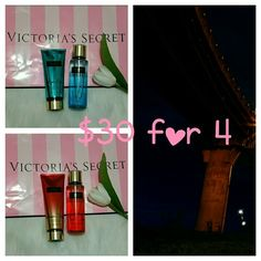 2 Brand new body mist and 2 lotion.never use. Brand new body mist and lotion.never use  2 body mist  2 lotion Smoke and pet free household.  Have a blessed day. PINK Victoria's Secret Other
