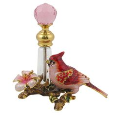 Red Jay Perfume Bottle Bejeweled Red