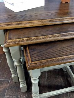 wood burning toasted oak stacking tables, painted furniture, woodworking projects