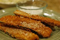 Fried zucchini with lemon aioli dipping sauce!