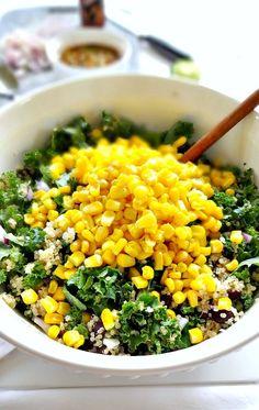 Spicy Kale and Quinoa Black Bean Salad   The Glowing Fridge   Bloglovin'