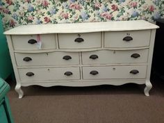 $250 - This 7 drawer dresser has been painted a creamy white and lightly distressed with has metal key hole covers as well as iron drawer pulls.**** In Booth H12 at Main Street Antique Mall 7260 E Main St (east of Power RD on MAIN STREET) Mesa Az 85207 **** Open 7 days a week 10:00AM-5:30PM **** Call for more information 480 924 1122 **** We Accept cash, debit, VISA, Mastercard, Discover or American