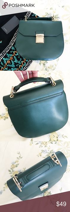 Zara Green Crossbody bag NWT green purse. Measurements: 8 inches in length, 8.5  across and bottom width is 3 inches. Minor scratch on the front but not too noticeable. Zara Bags Crossbody Bags