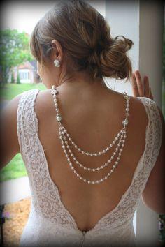 Backdrop Necklace-Pearl Necklace-Back Drop Necklace-Bridal Back Necklace-Wedding Necklace-Backwards Necklace-Dream Day Designs