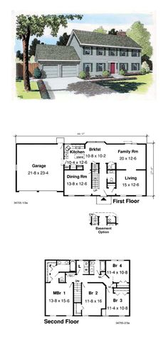 Colonial House Plan 34705 | Total Living Area: 2224 sq. ft., 4 bedrooms and 2.5 bathrooms. #colonialhome